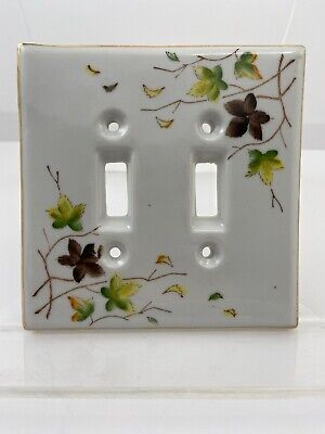 Vintage Ceramic Fine China Double Light Switch Cover Plate Fall Leaves Maples
