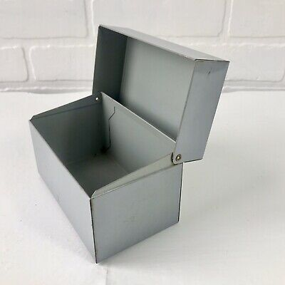 Vintage Grey Metal Recipe File Box Hinged Lid for 3 x 5 Index Cards