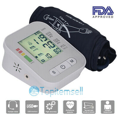 Automatic Digital Upper Arm Blood Pressure Monitor LCD w/ Extra Large Cuff Voice