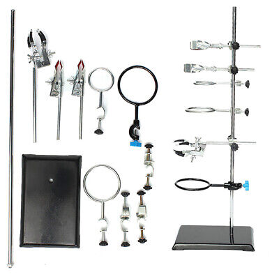 60cm Chemistry Laboratory Steel Stand Support Flask Condenser Clamp Clip Set
