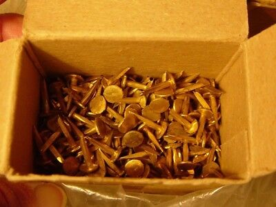 """Antique Furniture Restoration Trunk Chest 25 Pc Lot 1/2"""" Nails Brass Plated Tack"""