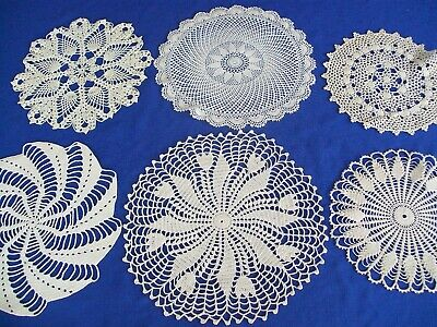 Vintage Crochet Lace Doilies Lot Of 6  Assorted  Patterns White & Off White