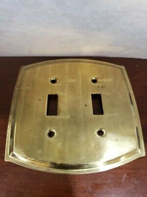 Vintage Shiny Solid Brass Double Light Switch Cover Plate Heavy Duty