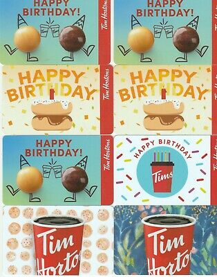 8 Tim Hortons $0 Value Collectible Gift Cards No Value