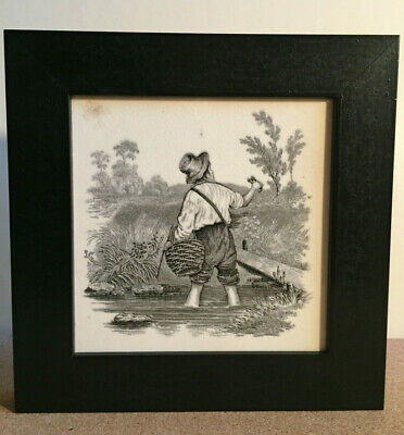Antique Mintons China Works Tile, Boy Catching Crayfish, 1880s Framed, Very Nice