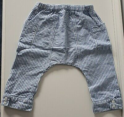 Zara Baby Boys Cotton Blue and White Striped  Summer Trousers Size 6-9 Months