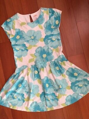 Gymboree Dress Girls Size 8 White and Blue Floral Short Sleeves