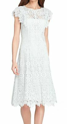 Tahari by ASL Womens Dress Mist Blue 8P Petite Guipere Lace Fit & Flare $168 808