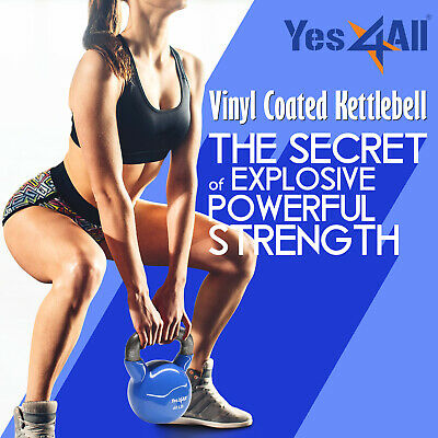 Yes4All 5 - 50 lb Kettlebell Weights - Vinyl Coated Cast Iron Kettlebell