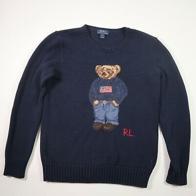 Polo Ralph Lauren Boys Teddy Bear USA Flag Navy Blue Pullover Sweater Size XL
