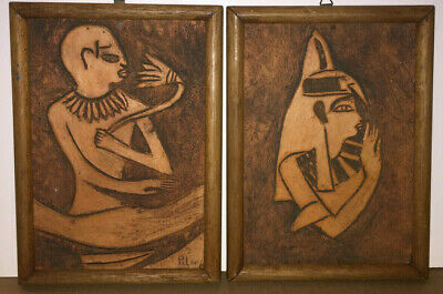 2  Antique Terracotta Carved Wall Plaque, Art, Egyptian Folk Art Signed, Nice