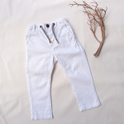 NEXT - Size 1 (12-18months) White Linen Cotton Blend Boys Toddler Trousers Jeans