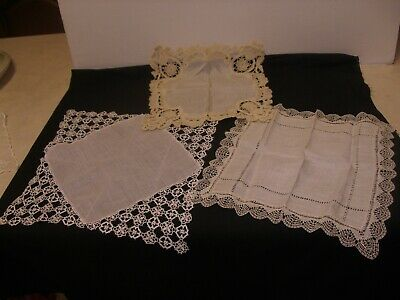 3 x Gorgeous Vintage Lace Edged Handkerchiefs or Hankies - Wedding