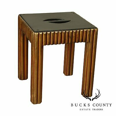 Vintage Art Deco Polychrome Painted Black and Gold Taboret Side Table