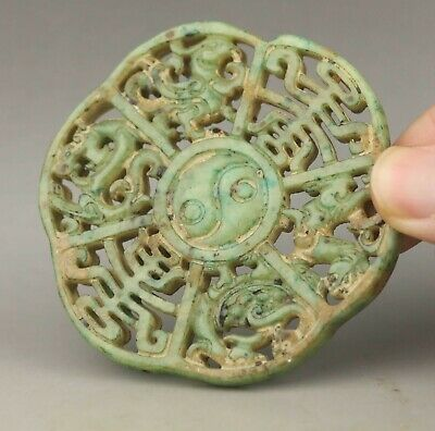 Chinese old natural jade hand-carved statue zodiac pendant 2.8 inch