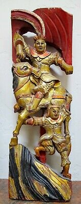 Antique Chinese Hand Carved Red and Gilt Painted Wooden Panel. Temple.