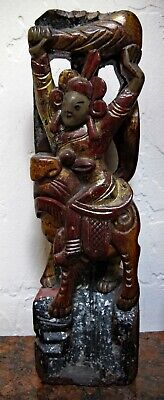 Antique Chinese Hand Carved Wooden Statue.  Temple.