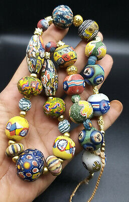 Extremely Rare Old Islamic Moisac Glass Different Faces Beads Top Condtion 250Bc