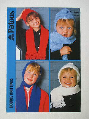 Knitting pattern Patons 8099 Child Hats and Scarfs  NEW VINTAGE 6 for1 post