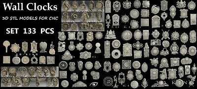 133 PCS 3D STL Models # WALL CLOCKS # Huge Set  for CNC Aspire Engraver Carving