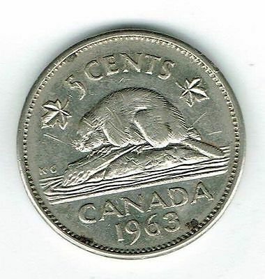 1963 Canadian  Circulated  Elizabeth II five Cent Coin!