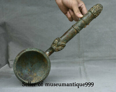 "14.8"" Ancient China Bronze Ware Dynasty Palace Beast Head ladle scoop dipper"