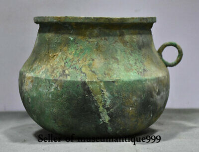 8.8' Ancient Old China Bronze Ware Dynasty Handle Pot Jar Crock Tank Vessel