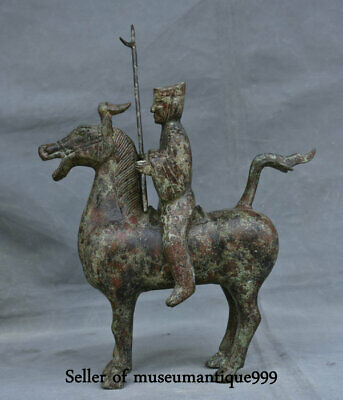 """12"""" Old Chinese Bronze Ware Dynasty Warrior soldier Ride Horse steed Sculpture"""