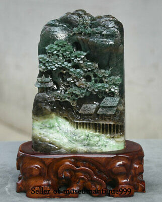 "8.4"" Chinese Natural Dushan Green Jade master Carved landscape House Statue"