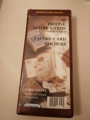 Gibsons 50 Bridge Score Cards Double Sided 4 Score Card Holders