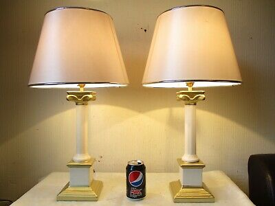 Pair Of Vintage Corinthian Column Table Lamps With Vintage Shades