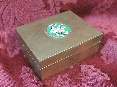 Antique Vintage Made in China Brass Cigarette Box Humidor, Cloisonne Medallion