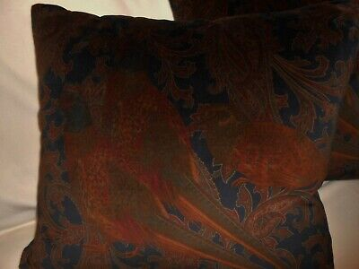 RALPH LAUREN Throw pillows HUNTING MANOR in dark Ink printed velvet new PAIR
