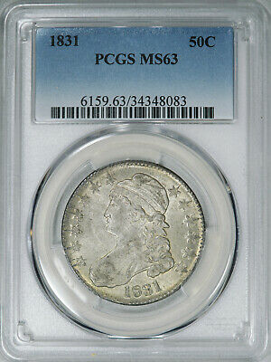 1831 PCGS MS63 Bust Half, decent luster and surfaces on this choice graded piece
