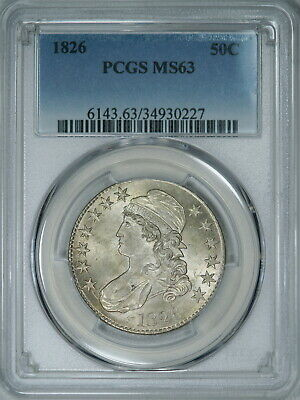1826 PCGS MS63 Bust Half, a nice well struck & lustrous eye appealing coin