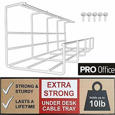 Scandinavian Hub Under Desk Cable Management Tray - Computer Cable Organizer for