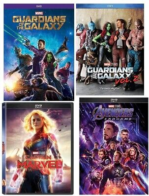 Captain Marvel, Avengers End Game, Guardians of the Galaxy, Guardians of Gal Vol
