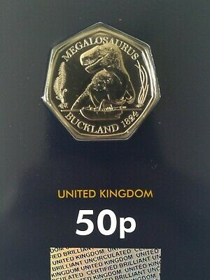 2020 Megalosaurus Dinosaur 50p Fifty Pence Coin CERTIFIED  Brilliant Unc ISSUE 1