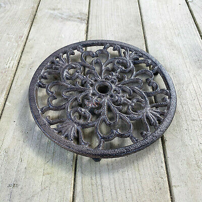 Round Cast Iron Trivet Kitchen Dining Table Serving Mat Tea Hot Pot Plate Stand
