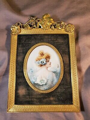 Antique French Porcelain Portrait W/ French Dore Frame.  Signed. Dragon