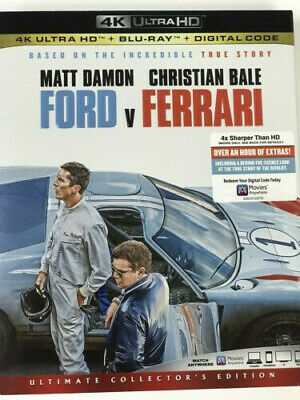Ford V Ferrari (4K Ultra HD + Blu-ray + Digital Code) NEW w/ Slipcover