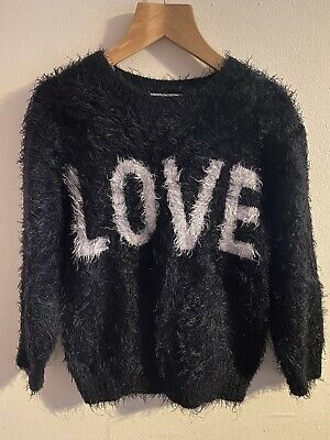 Matalan Age 7 Years Black Mohair Love Girls Jumper