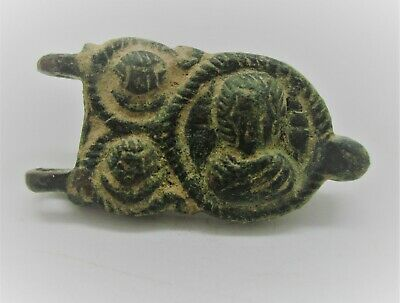 Ancient Byzantine Bronze Crusaders Strap End Depicting 3 Rulers Rare