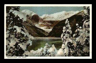 Postcard Summer Snow On Trees And Mountains Lake Louise Canadian Pacific Railway