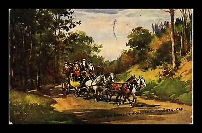 Postcard Tally Ho Drive In High Park Toronto Canada Horse Carriage