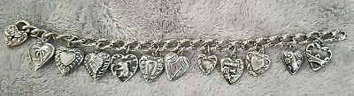 Antique Victorian Era Sterling Silver Puffy Heart Charm Bracelet Walter Lampl