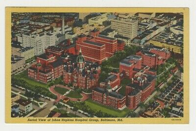 Aerial View Johns Hopkins Hospital Group BALTIMORE MD Linen Postcard Post Card