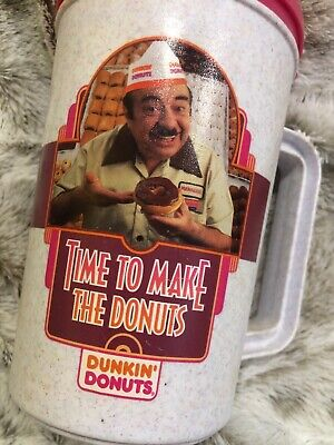 Dunkin Donuts Vintage Travel Mug Large Fred The Baker Time To Make The Donuts
