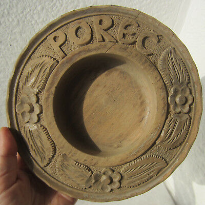 antique hand carved wooden bowl / tray carving > floral flowers art ornament