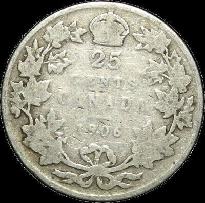 Canada 1906 25 Cents Edward VII Silver 25 Cent 25c Nice Coin!